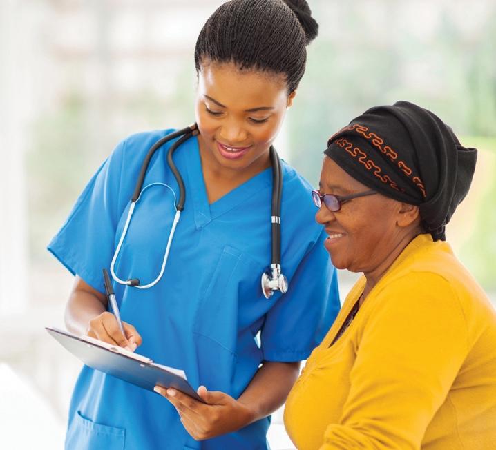 Nurse helping woman